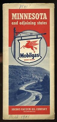Vintage 1940 Mobilgas Minnesota Ajoining States Oil Gas Service Station Road Map