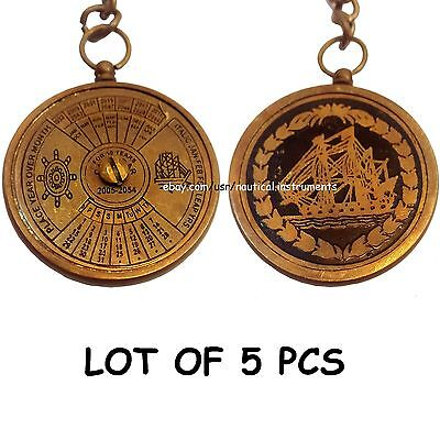 Lot Of 5 Pcs Antique Brass Calendar Key Chain Collectible Gift