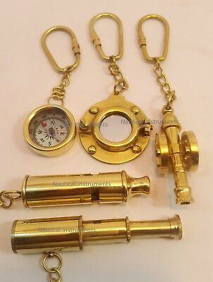 Set of 5 Brass Key-chains; Police Whistle, Cannon, Porthole, Telescope & Compass
