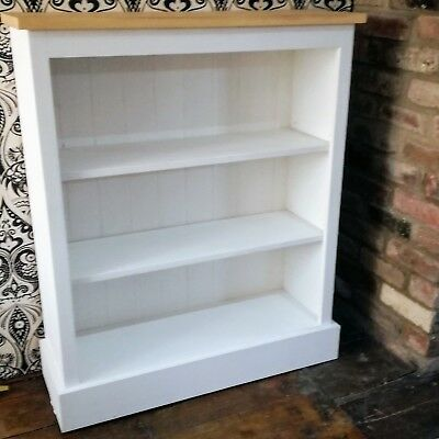 Pine Hand Made Painted Wood Bookcase Adjustable 3 Shelves Wooden Shabby Chic