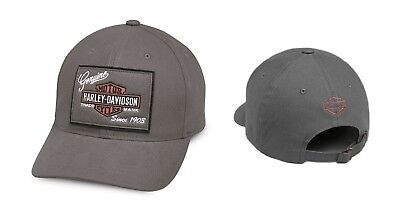 HARLEY Davidson Genuine Patch Baseball Cap Berretto Berretto Grigio 99435-18vm