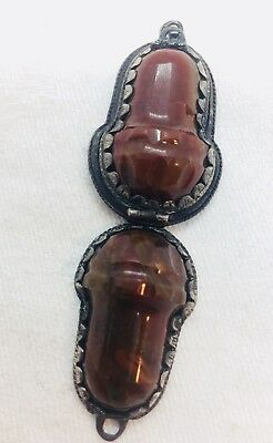 Antique Victorian Rare Double Sided Sterling Silver Agate Acorn Pill Box Pendant