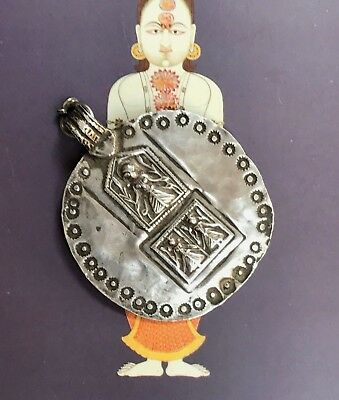 Antique Indian Tribal High Grade Silver Amulet Pendant. From Pushkar, Rajasthan.
