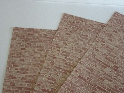 "Miniature Dollhouse Wallpaper J Hermes Used Brick pattern. 1:12 11""x17"""