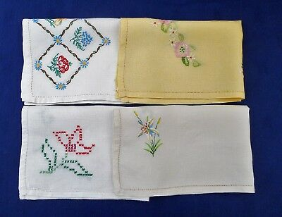 4 vintage hand-embroidered tray cloths / mats - yellow & natural linens
