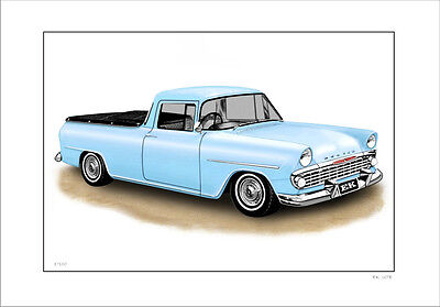 Holden Ek  Ute   Limited Edition Car Drawing  Print  (5 Car Colours)
