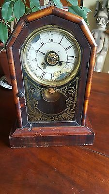 Antique American New Haven Mission Shelf Parlour 1 day Striking Clock complete