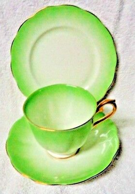 Royal Albert Green Wash Cup Saucer And Side Plate 3 piece set