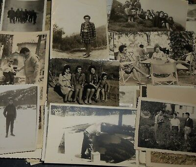 Lot Of 120 Old B/w Photos Snapshots Groups Of People Events Families Portraits