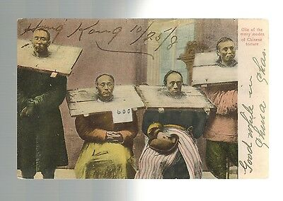 1908 China Hong Kong To USA Prisoners Punished RPPC Real Picture Postcard Cover