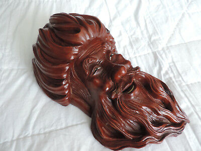Vintage Chinese Oriental Carved Wooden Rosewood Hardwood Wall Mask Ref30