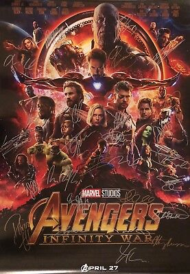 Marvel Avengers Infinity War 27x40 Movie Poster COMPLETE CAST SIGNED x28! RARE
