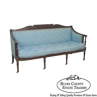 Federal Style Antique American Custom Mahogany Frame Sofa