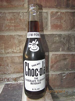 1973 9oz CHOC-OLA Chocolate ACL Soda Bottle - INDIANAPOLIS IN - Cow Power