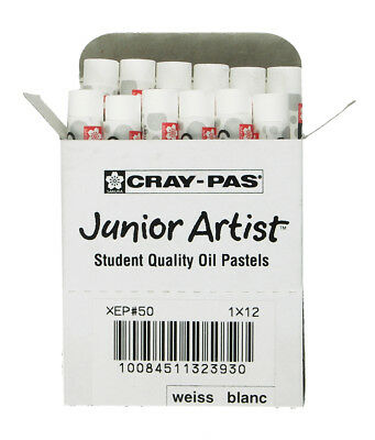 Sakura XEP-050 White Junior Artist Quality Oil Pastels Student 12 Piece Art Draw