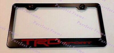 TRD SPORT Red On Black Stainless Steel License Plate Frame TUNDRA W/ Bolt Caps