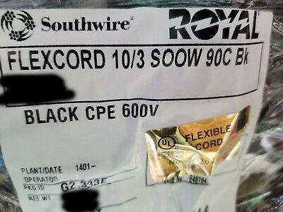 Southwire 10/3C Royal SOOW 600V 90C CPE Portable Power Cable Cord Black /20ft