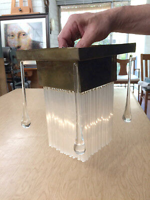 Vtg Art Deco Brass Ceiling Lamp Light Chandelier with Glass Rods and Droplets