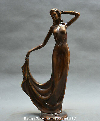 China fengshui old bronze carve occidental beautiful woman beauty belle statue