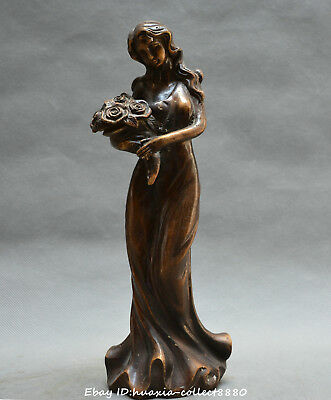 Chinese fengshui old bronze carve beautiful woman bridesmaid fresh flower statue