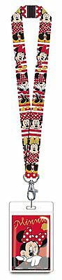 Disney Minnie Mouse Red Lanyard Novelty with Card Holder