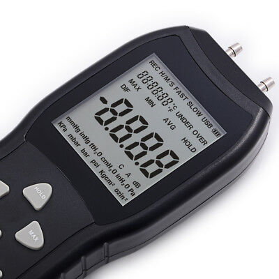 LCD Display Digital Manometer Differential Air Pressure Meter 2 Pipe Black NEW