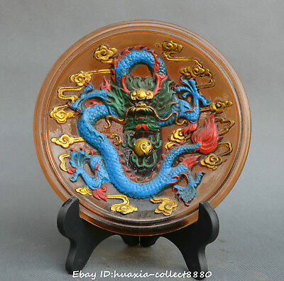 Chinese old coloured glaze hand carve dragon beast statue plate Decorative plate