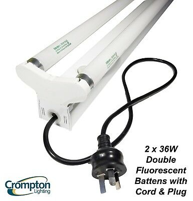 Crompton 2 x 36 Watt Fluorescent Light Batten with Cord & Plug DIY - BRAND NEW