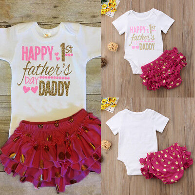Baby Girls Infant Romper Princess Romper Top+Tutu Shorts 1st Fathers Day Outfits