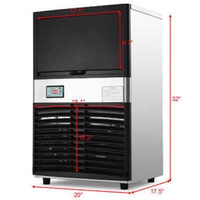 Commercial Ice Maker Automatic Stainless Steel 100lb Portable Freestanding
