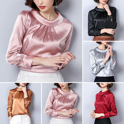 Formal Ladies Satin Shirt Vintage Pleated Long Sleeve Shiny Blouse Pullover Tops