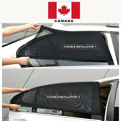 2PC Car Rear Side Window Sun Visor Shade Mesh Cover Sunshade UV Protector CANADA