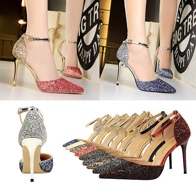 Sexy Women Strappy Pumps Bling Sandals Stiletto Point Toe High Heels Party Shoes