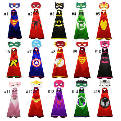 15 styles one-layer children Super hero Capes and mask set Superhero cosplay cap