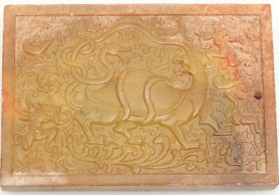 hand carved jade rectangle board brown Bi with tortoise snake pendant D473