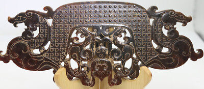 hand carved HeTian jade openwork arc-shaped with grains Chi dragon phoenix D489