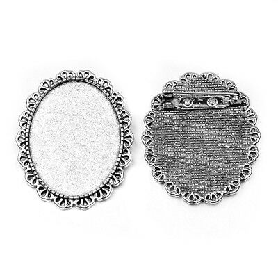 40x30mm Antique Silver Brooch Cabochon Cameo Setting with Pin 744x