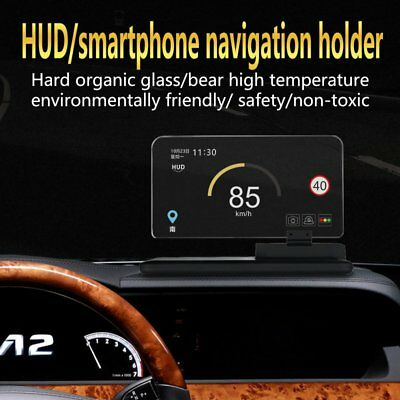 "H6 6.5"" Screen Car HUD Head Up Display Projector Phone Navigation GPS Holder OZ#"