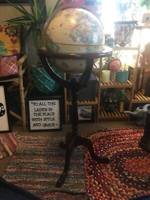 "Replogle 12"" World Classic Globe Bombay Furniture Co Antique Style Wood Stand"