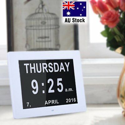 "8"" LED Dementia Digital Calendar Day Clock Extra Large Day/Week/Month/Year NBF"