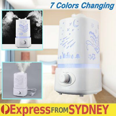 1.5L Air Humidifier Ultrasonic Cool Mist Steam Vaporiser Diffuser 7colors White