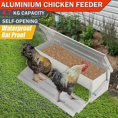 4.7kg Automatic Aluminum Chicken Feeder Treadle Chook Poultry Self Opening AU A
