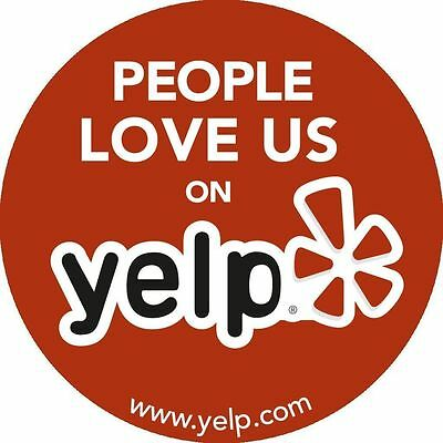 Genuine Yelp Sticker Business Decal Logo Sign --- People Love Us On Yelp----