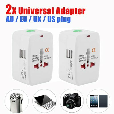 2x World Universal Travel Adapter with usb Converter wall Plug Power US UK AU FG