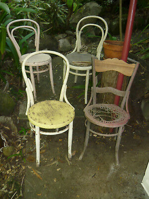 Lot of 4 Bentwood Chairs Cafe Style Vintage Antique Seat for Restoration - Parts