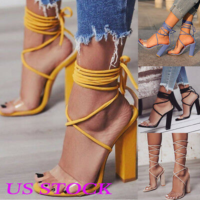 US Women Summer Sandals Ladies High Block Heels Lace Up Peep Toe Party Shoes