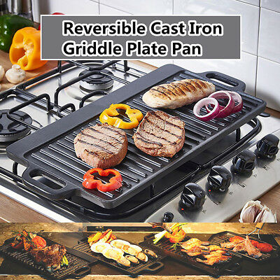 Heavy Duty Cast Iron Griddle Pan Pre-seasoned Frying Cooking Camping BBQ Skillet