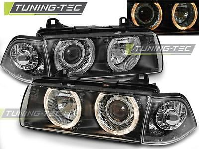 Coppia Fari Anteriori Bmw E36 12.90-08.99 Angel Eyes Black*317