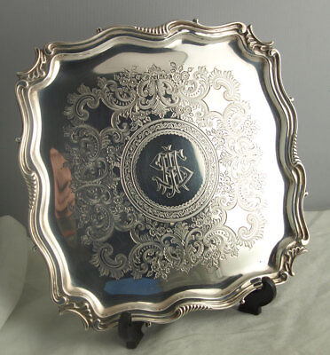 Ornate Edwardian Solid Silver Tray - 420g - Sheff. 1902.