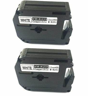 2PK compatible for Brother P-touch Label Tape Black on White M231 M-K231 MK231